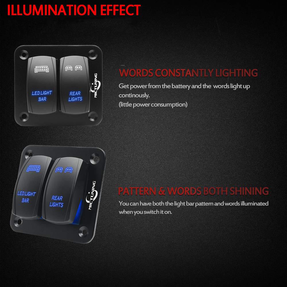 Blue Laser Rocker Switch Illuminated LED Light Bar for Car Truck Boat UTV 5 Pins