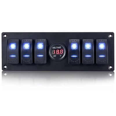 Switchtec 6 Gang Rocker Switch Panel Voltmeter, Blue Backlit LED, Pre-Wired for Boat Yacht Marine Car Truck Jeep Can-Am