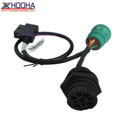 9pin deutsch female and male connector to OBD 16 pin right angle connector cable
